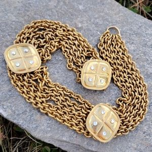 Vtg Chanel Like Quilted Rhinestone Chain Necklace!